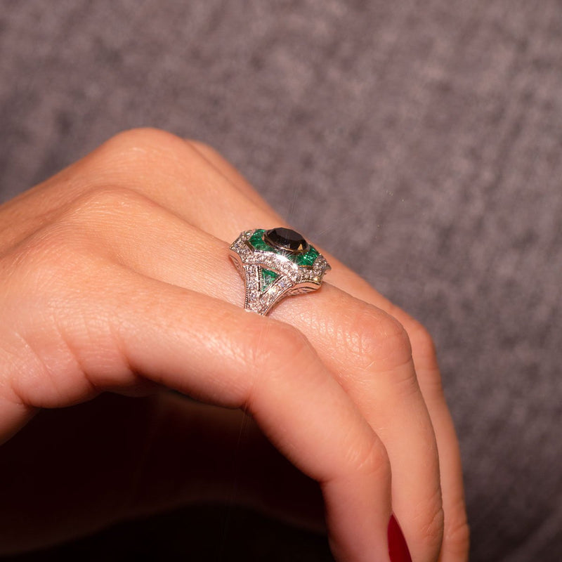 Black diamond Ring with Emeralds