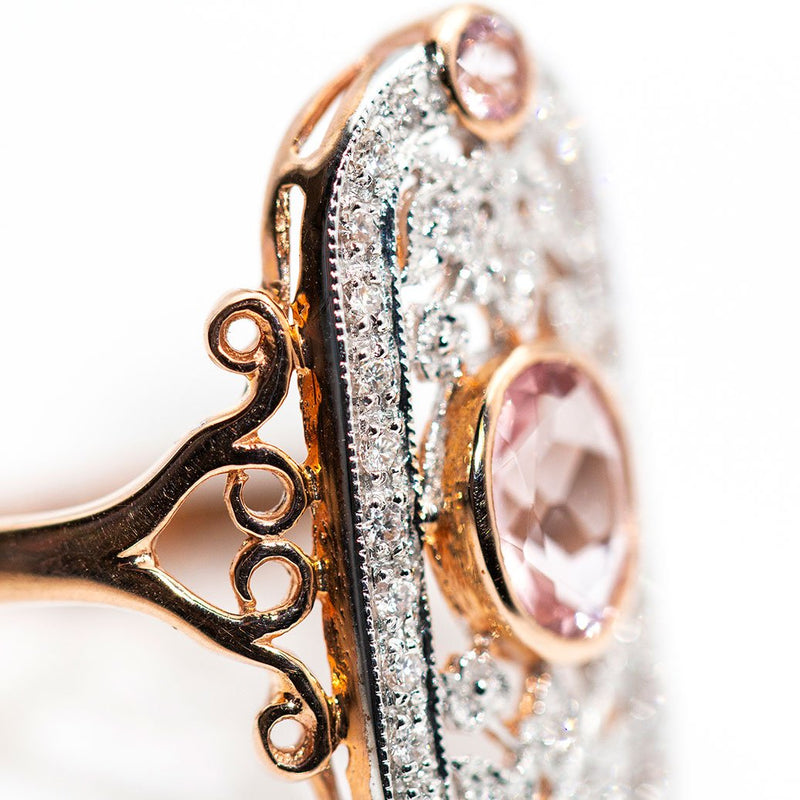 Holly Morganite & Diamond Ring Rings Imperial Jewellery - Auctions, Antique, Vintage & Estate