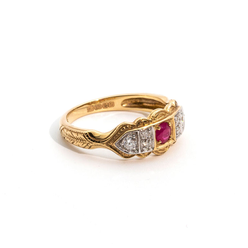 Ruby and Diamond Ring Yellow Gold