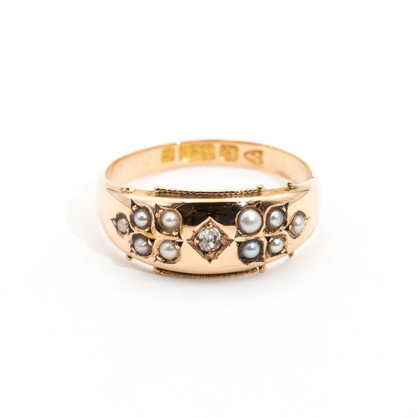 Joanna Diamond & Pearl Ring Rings Imperial Jewellery - Auctions, Antique, Vintage & Estate