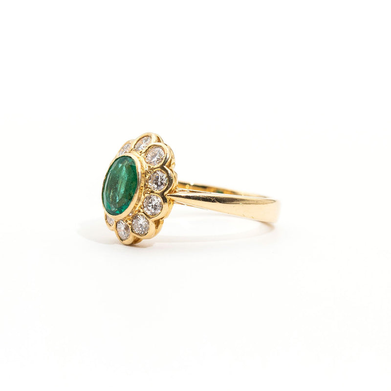 Juniper Emerald & Diamond Ring Rings Imperial Jewellery - Auctions, Antique, Vintage & Estate
