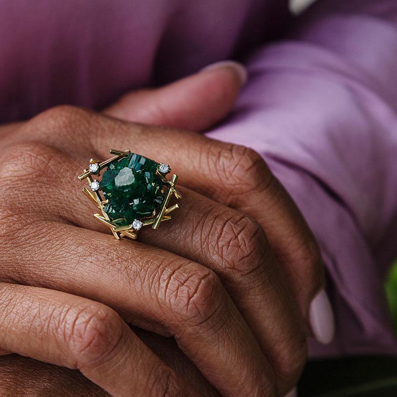 Kryptonite Emerald & Diamond Ring Rings Imperial Jewellery - Auctions, Antique, Vintage & Estate