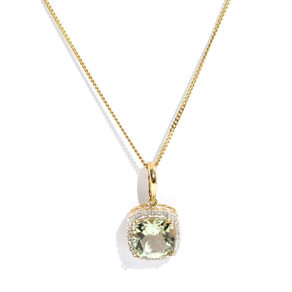 Myka Mint Quartz & Diamond Pendant Pendants/Necklaces Imperial Jewellery - Auctions, Antique, Vintage & Estate