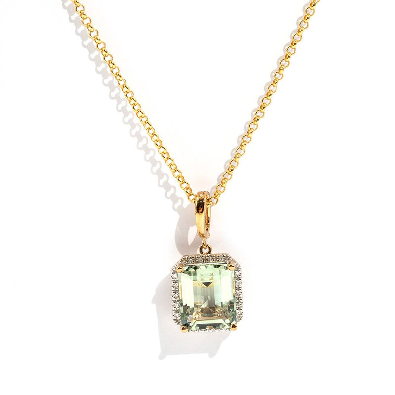 Sofia Mint Quartz & Diamond Pendant Pendants/Necklaces Imperial Jewellery - Auctions, Antique, Vintage & Estate