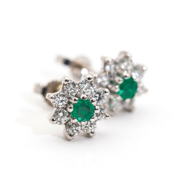 Tamara Emerald & Diamond Earrings Earrings Imperial Jewellery - Auctions, Antique, Vintage & Estate