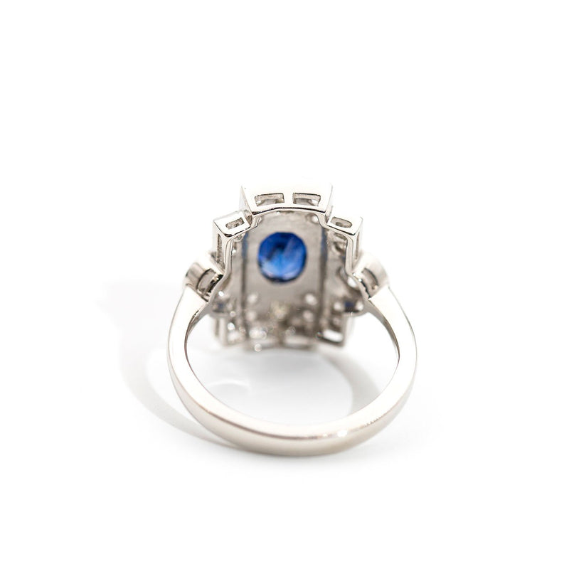 Vanessa Blue Sapphire and Diamond Art Deco Ring Ring Imperial Jewellery - Auctions, Antique, Vintage & Estate