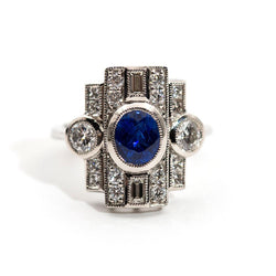 Vanessa Sapphire and Diamond Art Deco Ring Ring Imperial Jewellery - Auctions, Antique, Vintage & Estate