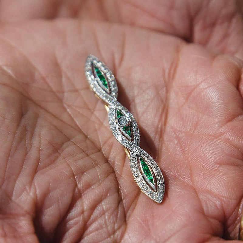 Zuri Emerald & Diamond Brooch Brooch Imperial Jewellery - Auctions, Antique, Vintage & Estate