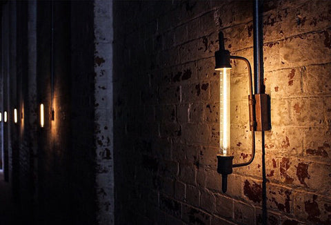 antique wall light at distribution lane