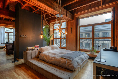 hemp rope light in rustic loft