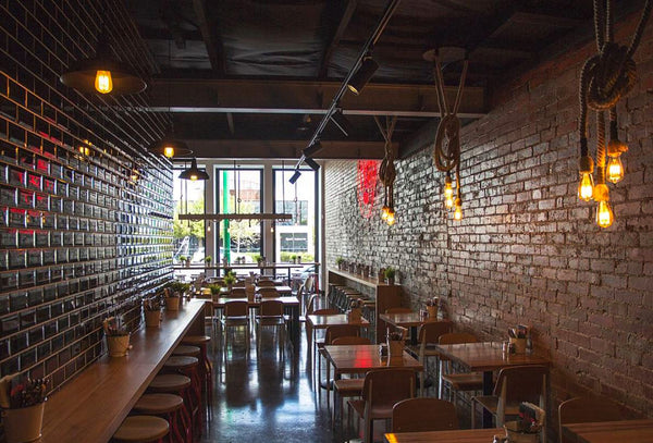 hemp rope and industrial lights in loft restaurant setting