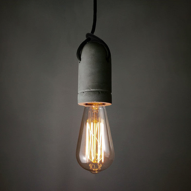 Concrete Bare Bulb Pendant Light