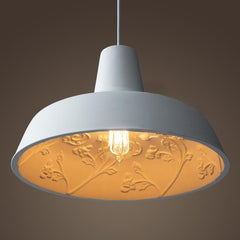 Epernay elegant white cement / resin cast pendant ceiling light
