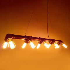 Water Iron Water Pipe Light Turned Pendant Light with 10 Bulbs
