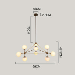 Brushed brass cluster bulb chandelier measurements