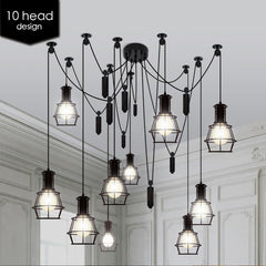 Multi head Work Lamp Cage Chandelier - 10 heads