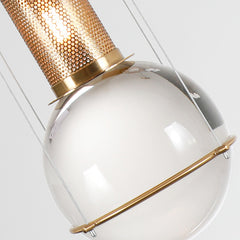 Opal round glass suspended sphere midcentury pendant Light studio image details