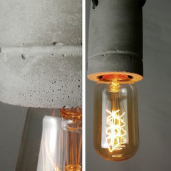 Concrete Bare Bulb Pendant Light - details