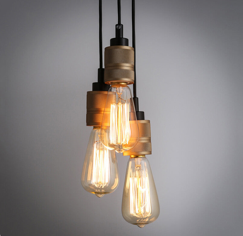 Hooked Industrial Brass 6 Bare Edison Bulb Chandelier Tudo And Co
