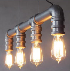 4 Head Water Pipe Industrial Hanging Ceiling Light in Silver