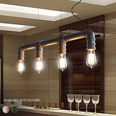 4 Head Water Pipe Industrial Pendant Light in Silver