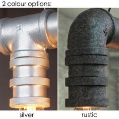 Pipe light fitting in Silver and Rustic