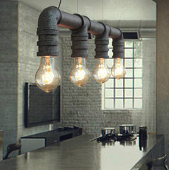 4 Head Water Pipe Industrial Pendant Light in Rustic
