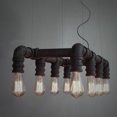 8 Head Metal Water Pipe hanging light