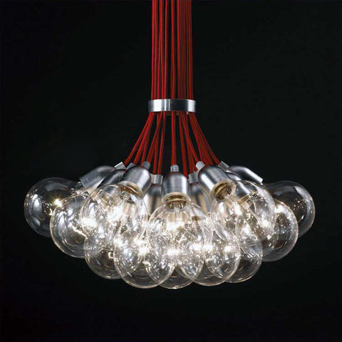 19 bulb Red Braided Wire Chandelier