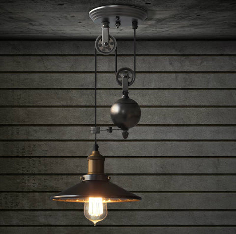 Lincoln Black mirror shade pulley pendant light