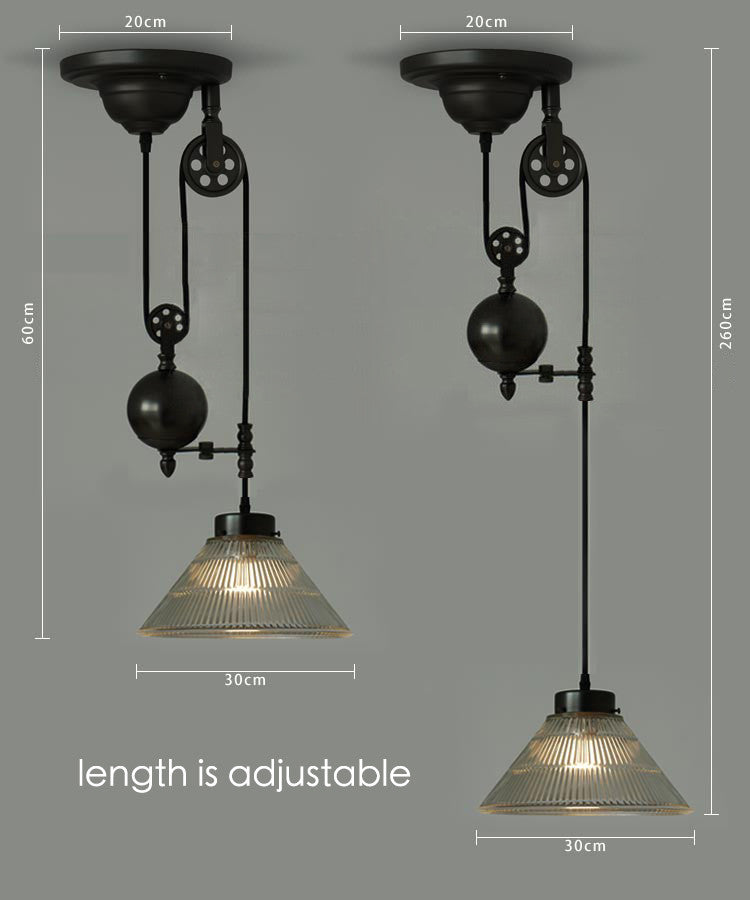 Bennet Ribbed Glass Cone Pulley Pendant Light: Tudo&Co