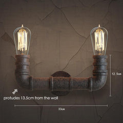 Duo Water Pipe Wall Light Sconce - measurements