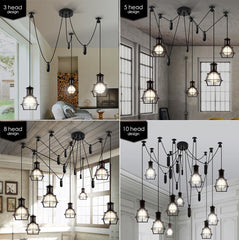 Multi head Work Lamp Cage Chandelier