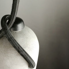 Concrete Bare Bulb Pendant Light - fabric cord details