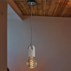 Concrete Bare Bulb Pendant Light - in room