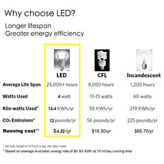 Classic Edison Light Bulb A19 4W LED ratings