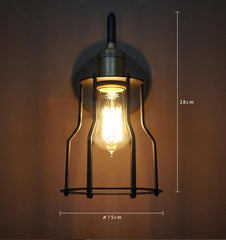 Iron Wire Cage Industrial Wall Sconce Light