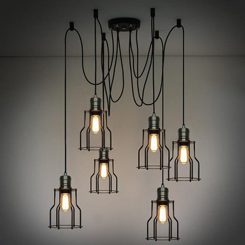 amazing chic industrial light fixtures. 6 Head Industrial Wire Cage Chandelier  Pendant Lights Designer and loft affordable lighting online store