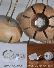 Wooden flower petal strip on copper wire pendant light led light bulb