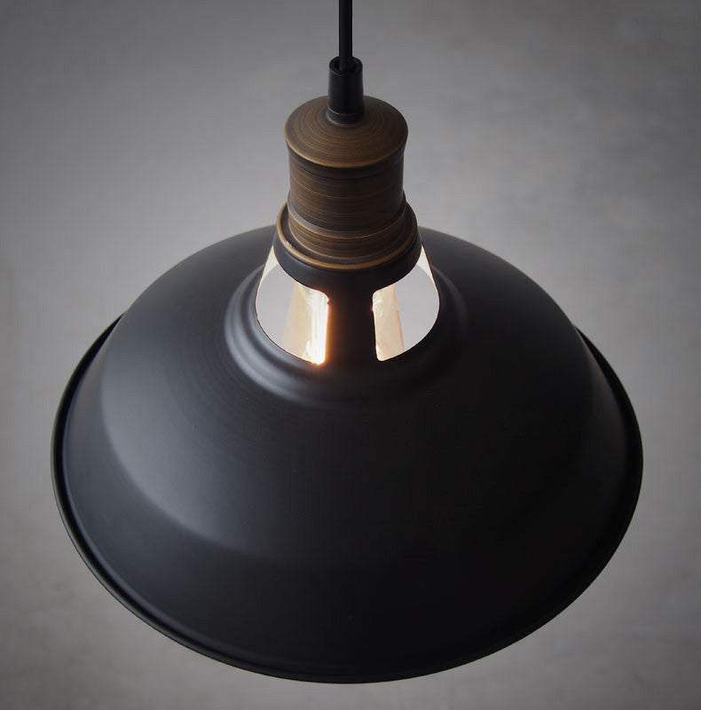 Duotone Vintage Industrial Pendant Light With Brass