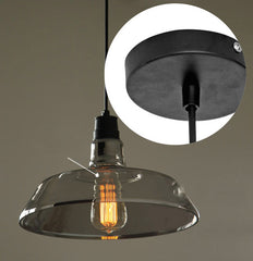 Industrial Lamp Shade Pendant Light With Tinted Glass