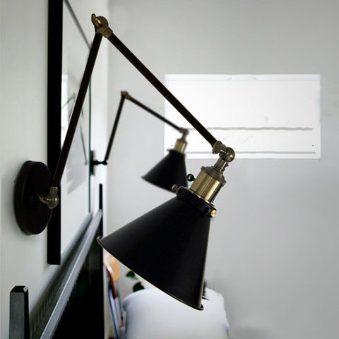 Black Cone Shade Wall Light Sconce With Long Arm
