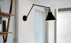 Black Cone Shade Contemporary Loft Bedside light in room