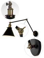 Black Cone Shade Contemporary Loft Wall Sconce - Details