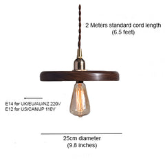Walnut Wooden Shade Brass Pendant Light
