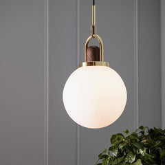 Art Deco Alain Glass Shade Brass Pendant Light