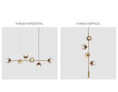 Olive Tree Branch Line Chandelier vertical and horizontal orientation