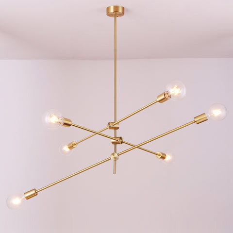 Circa Brass Pendant Light - 3 lines (6 heads)