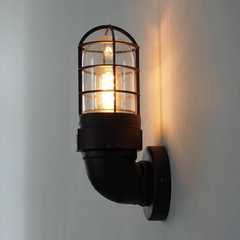 Classic Bunker Industrial Wall Light Sconce Side view
