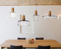 Dresden Tinted Glass And Wood LED Pendant Ceiling Light. Modern Minimalist
